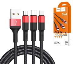 USB кабель HOCO X26 Xpress 3 in 1